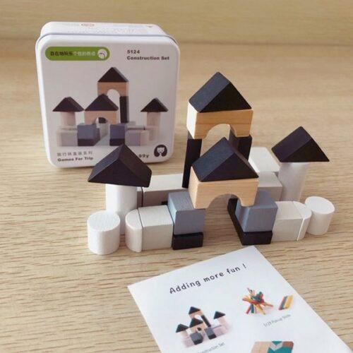 Extrokids Wooden Geometry Block Game Toy Building blocks - EKT1896I