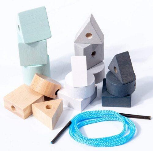 Extrokids Wooden Geometry Block Game Toy Geo Lacing Beads - EKT1896M