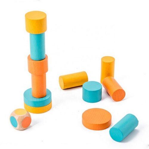 Extrokids Wooden Geometry Block Game Toy Stacking  - EKT1896O