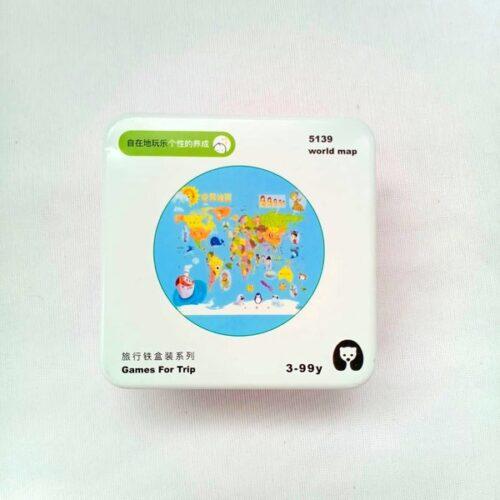 Extrokids Wooden Geometry Block Game Toy World Map - EKT1896R