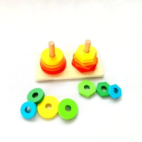 Extrokids Wooden Shape Sorter Puzzle Circle and Hexagon Stacker Toy - EKT1910