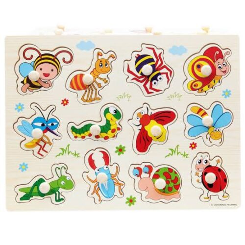 Extrokids Children Educational  Wooden Insect Puzzle with Knob - EKT1912