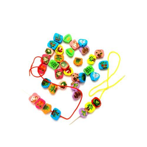 Extrokids Wooden Fruit Bead Lacing Toy Stringing Beading Game - EKT1914B