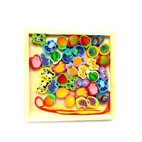 Extrokids Wooden Fruit Bead Lacing Toy Stringing Beading Game - EKT1914C