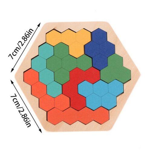 Extrokids Wooden Hexagon Puzzle Shape Pattern Block Tangram Brain Teaser - EKT1890