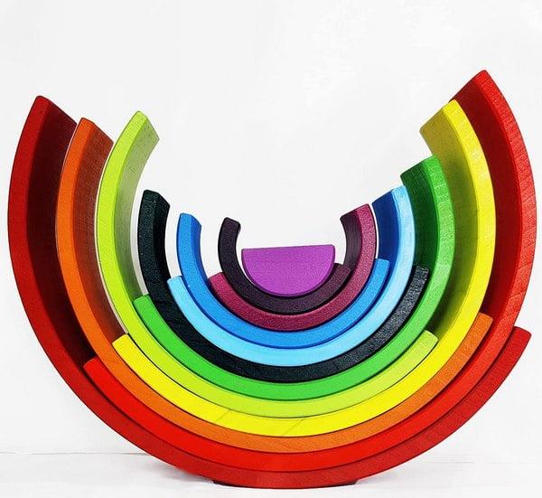 Extrokids Wooden colorful 12 PC Rainbow Stacker Stacking Toy - Large - EKT1918