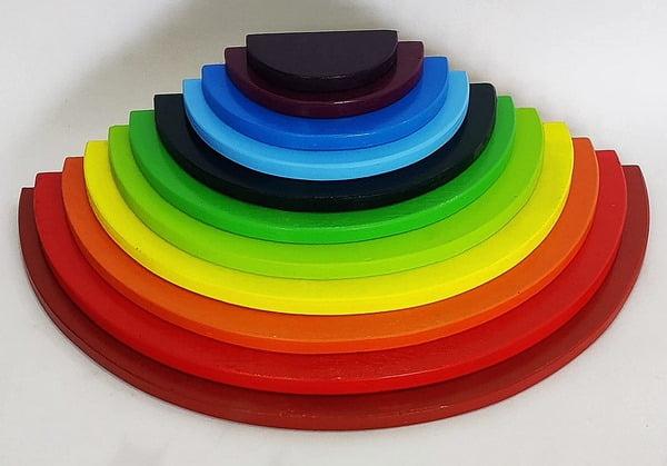 Extrokids Wooden 11 PC Rainbow Semi Circle Round Stacking Toy -Large - EKT1919