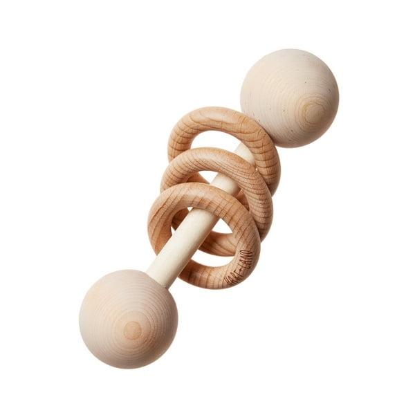 Extrokids Wooden Dumbbell Rattle With Wooden Rings - EKT1921