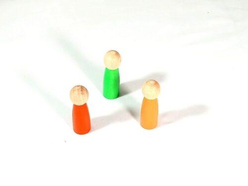 Extrokids wooden Color Peg dolls  Green , Red , Orange - 3 in 1