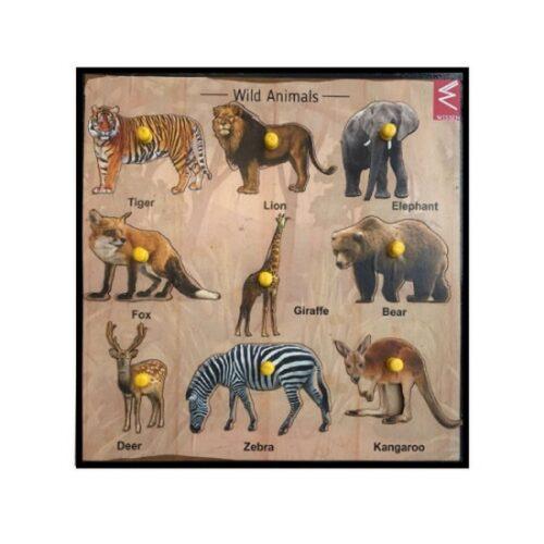 Extrokids Wooden Wild Animals Educational learning Tray 12*12 inch - EKW0053